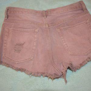 Bullhead Shorts - Bull head light salmon button down shorts